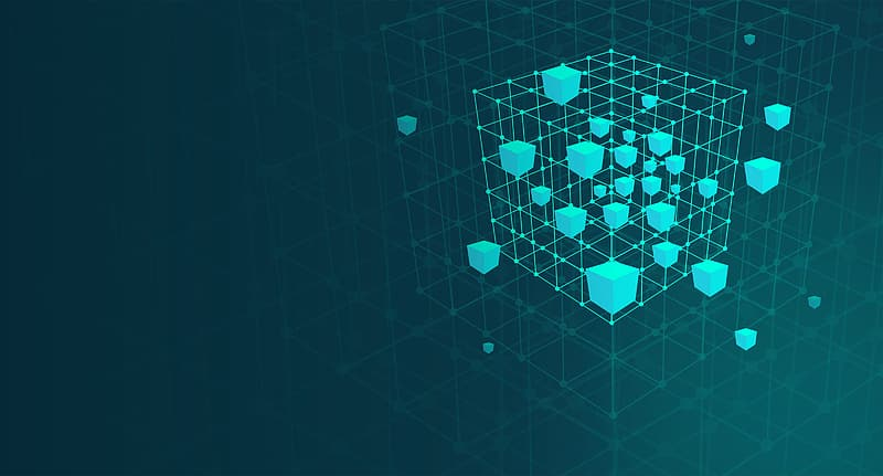Cube Mesh - Abstract - Big Data and Data Mining Concept - With Copyspace