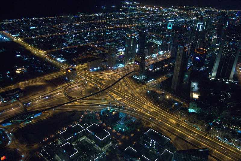 Bird's eye view of street and building lights