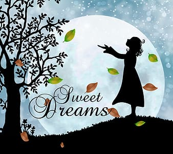 Silhouette of girl with Sweet Dreams text