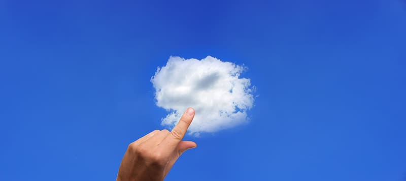 Person showing index finger pointing cloud