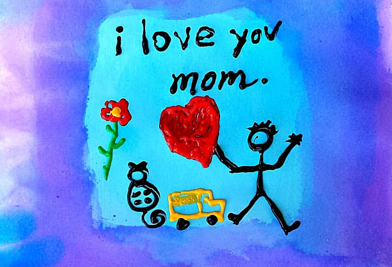I love you mom print illustration