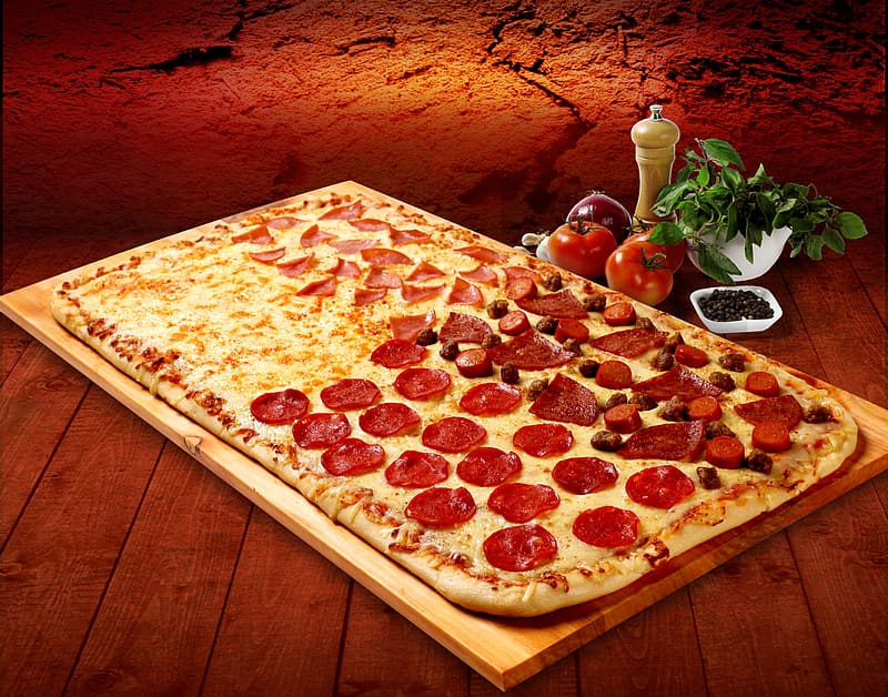 Pepperoni pizza on tray