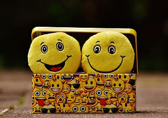 Two emoji plush toys on emoji print case