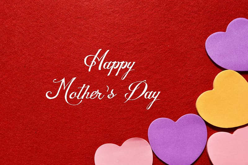 Happy mother's day text on red background
