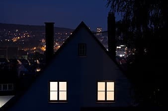 Silhouette of house during nighttime