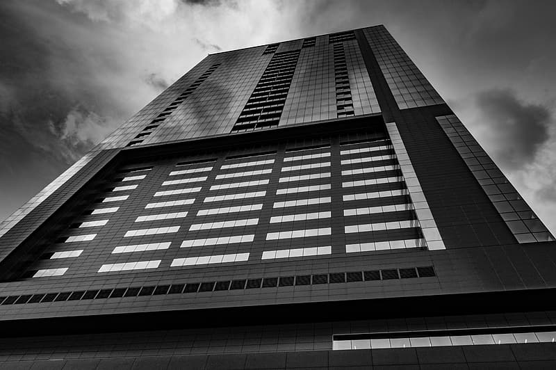 Low-angle grayscale photo of curtain wall building