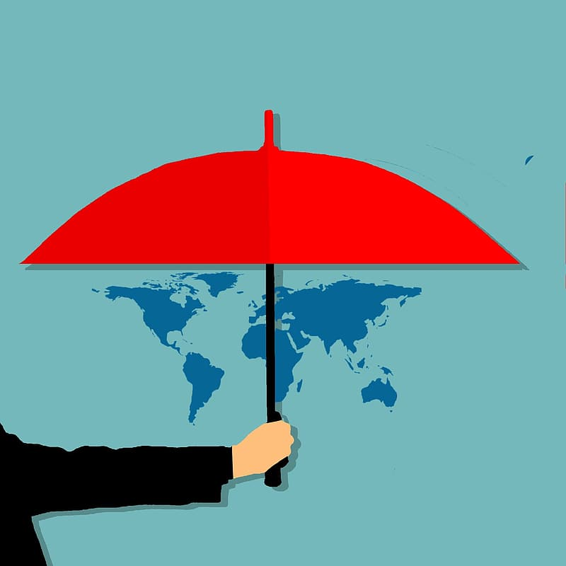 Person holding red umbrella painting