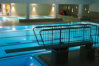 Grey indoor swimming pool
