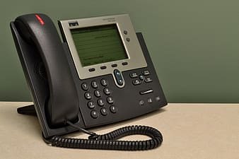 Black and gray desk phone