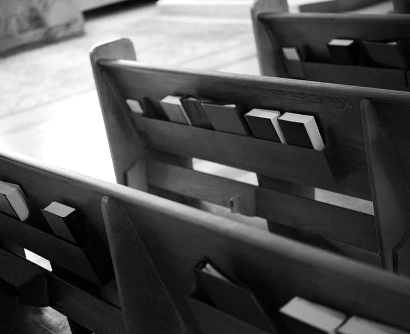 Grayscale photo of wooden blocks