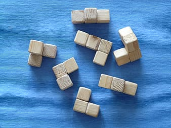 Brown wooden toy cubes