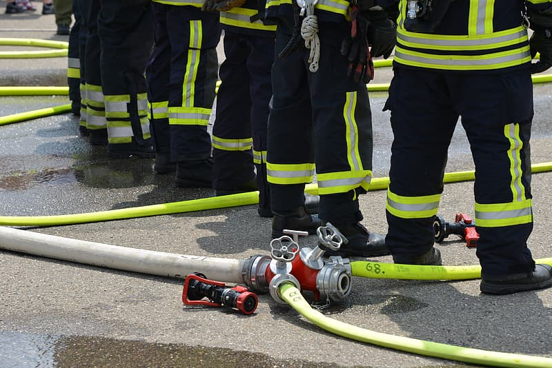 Red and gray fireman hose