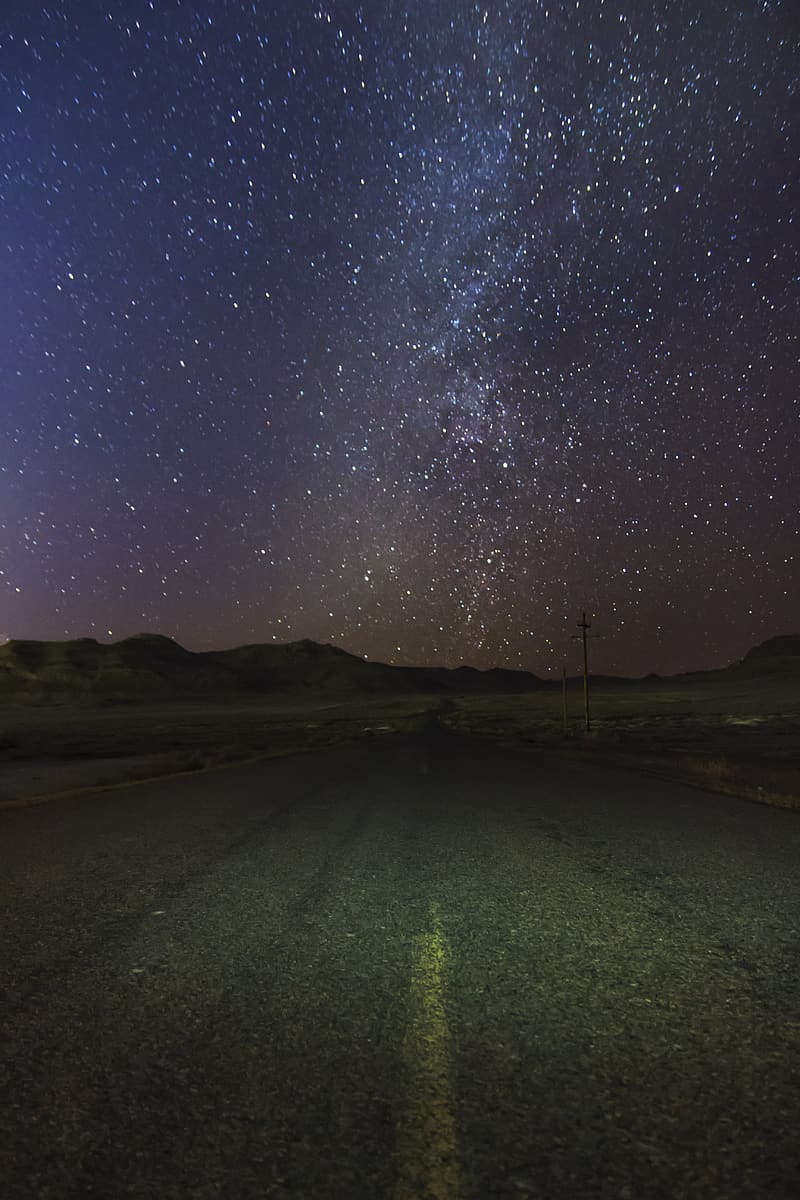 Milky Way Galaxy view from highway
