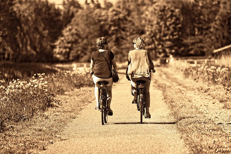 Two women riding bicycles on road