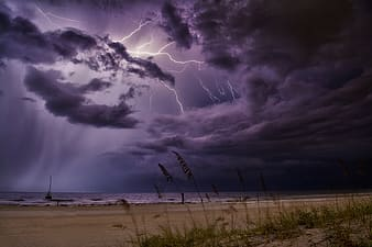 Lightning strike on the beach