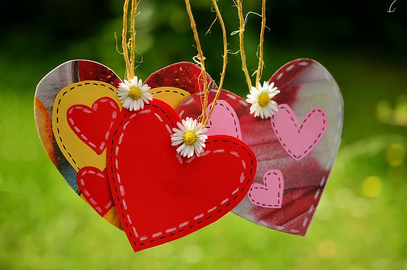 Red and white heart hanging decor