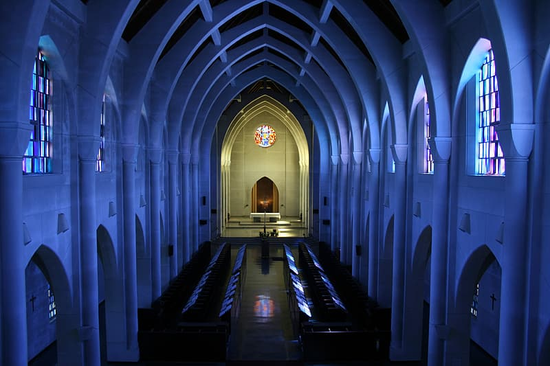 Lighted church photo