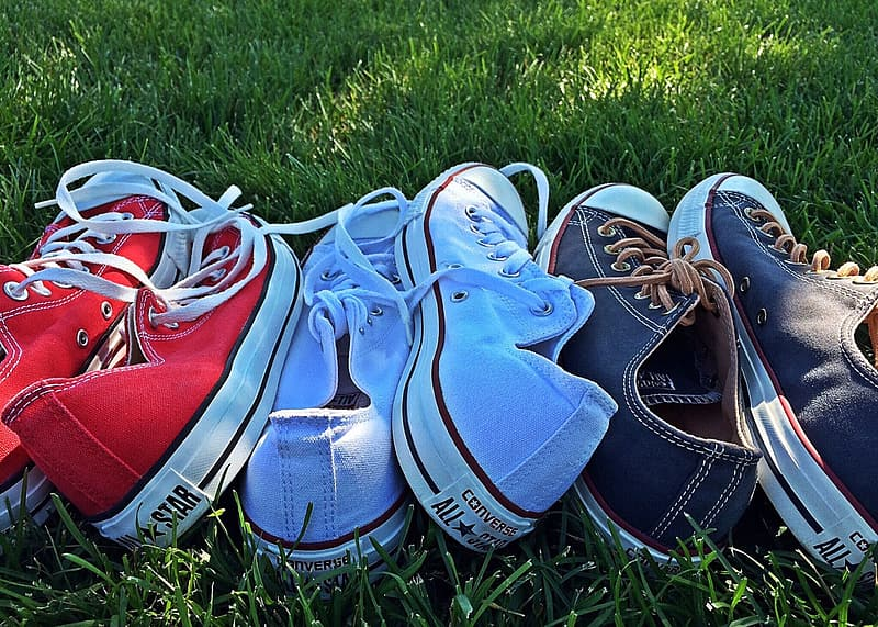 Red, blue, and blue Converse all star low-top sneakers on green grass