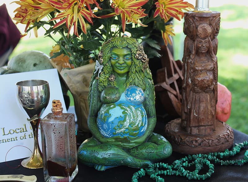 Close up photo of Mother Earth figurine