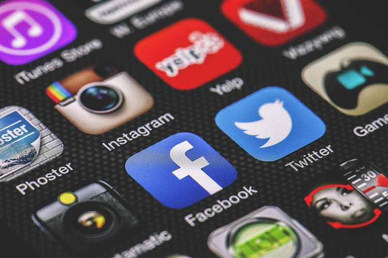 Facebook, Twitter and Instagram apps icons on mobile phone