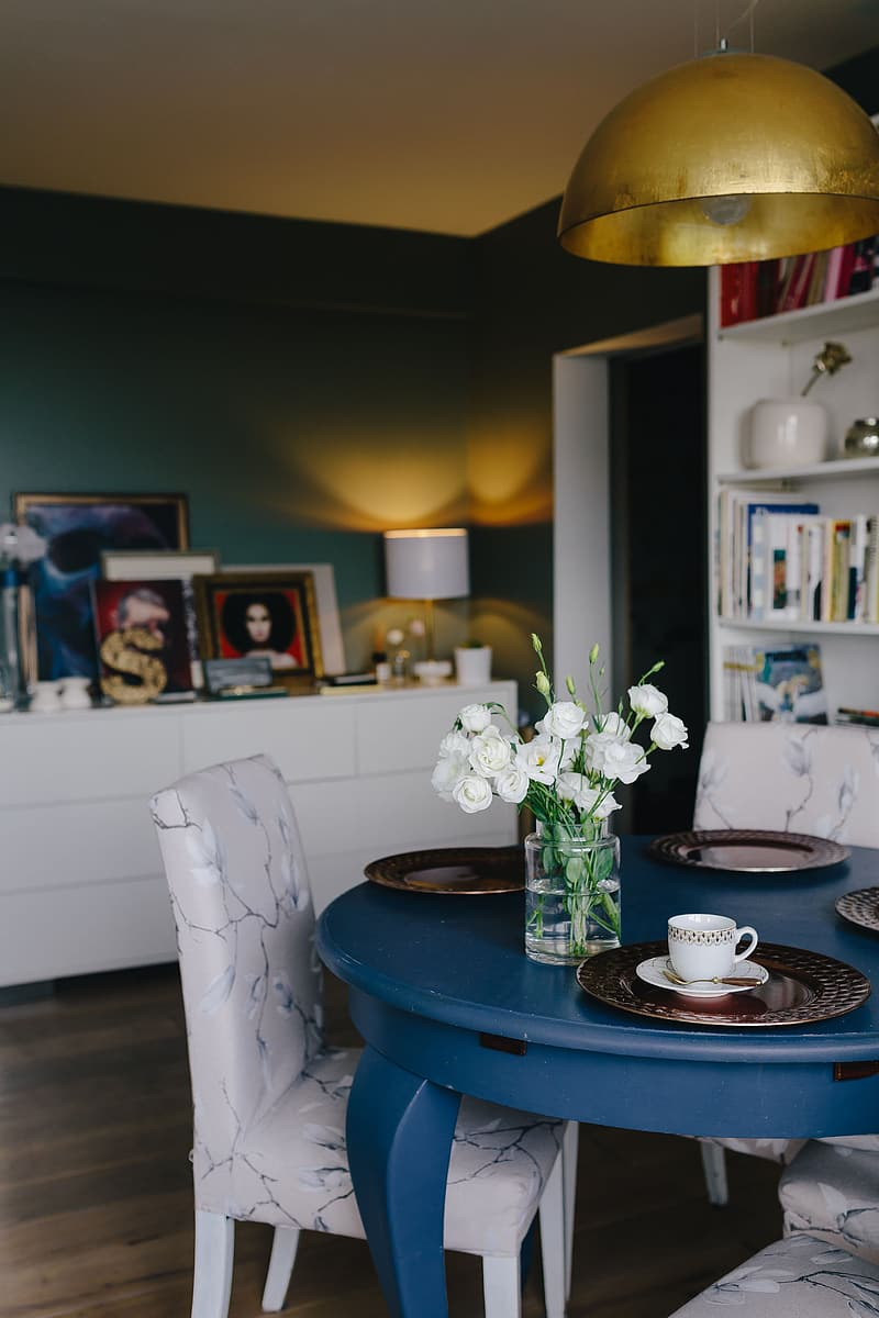 Modern dining room with blue table