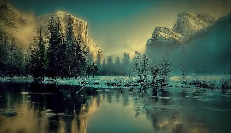 Landscape photography of river and mountain at daytime