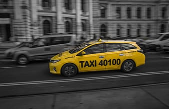 Slow motion photography of taxi