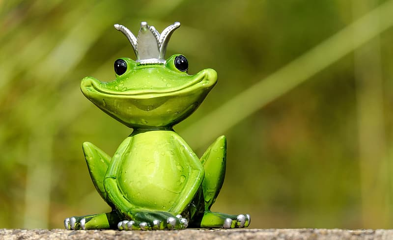 Green king frog figurine in close up photo