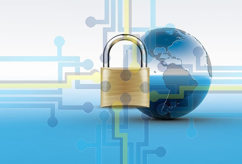 Gold-colored padlock with planet Earth on the background digital wallpaper