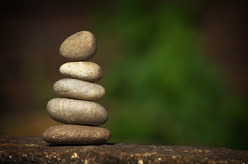 Five stacked stones