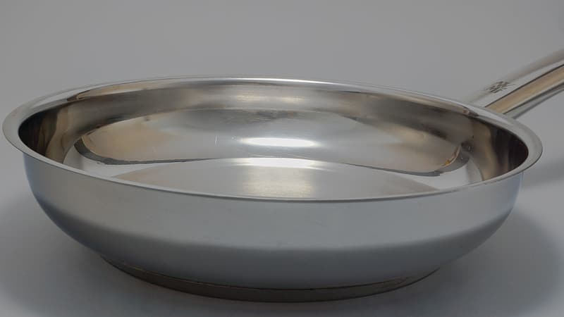 Stainless steel round plate on white table