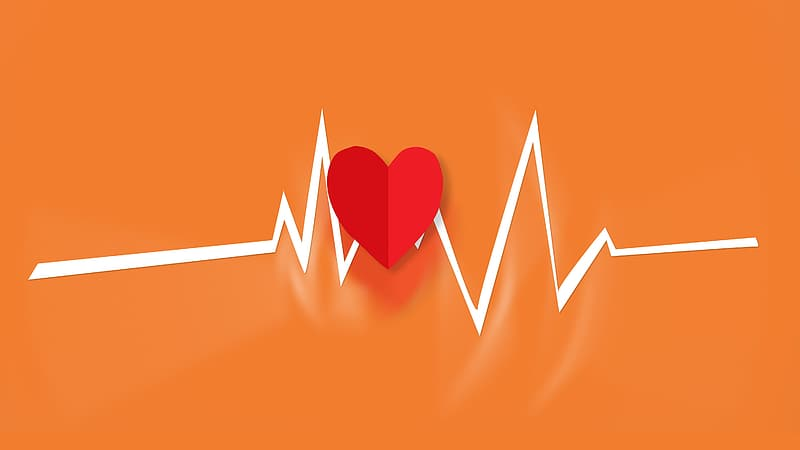 Red and white heartbeat illustration