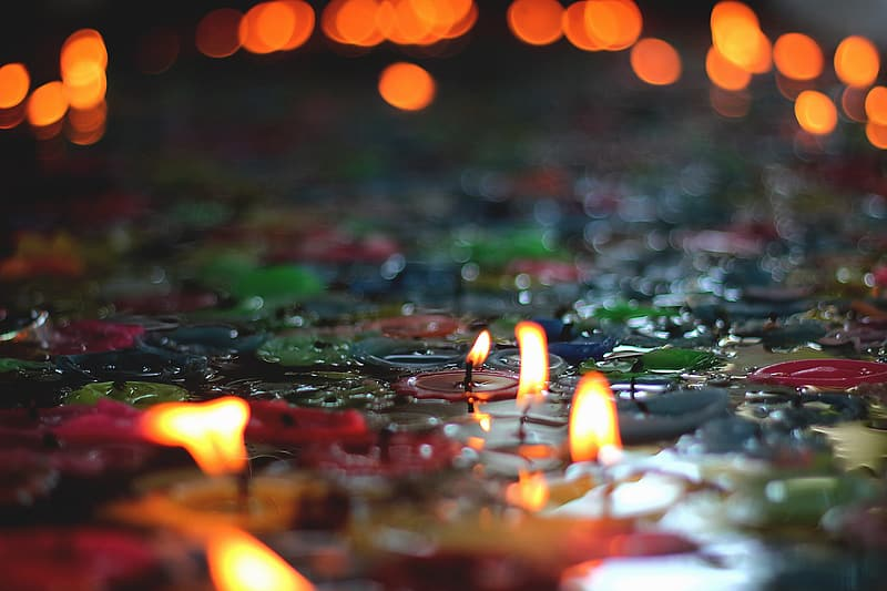 Tealight candles in tilt shift photography