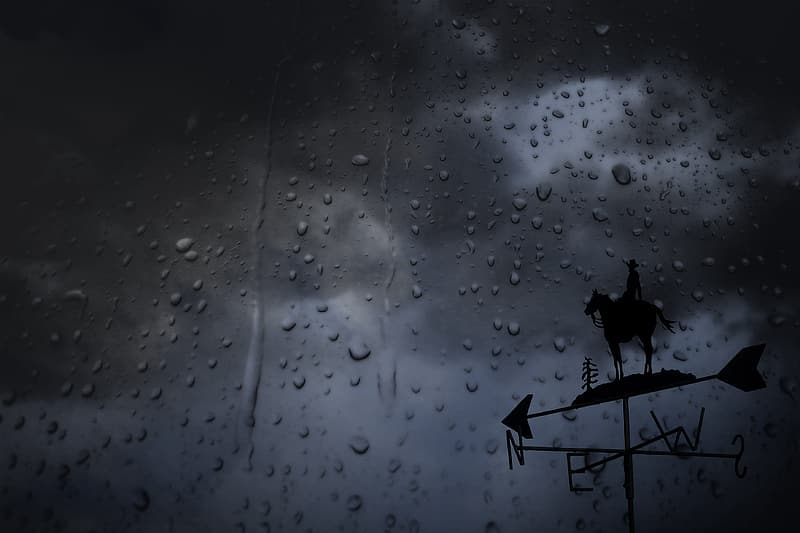 Silhouette of wind direction pointer during rainy season