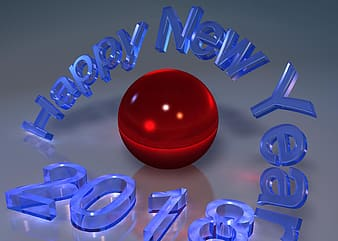 Red ball with happy new year text overlay