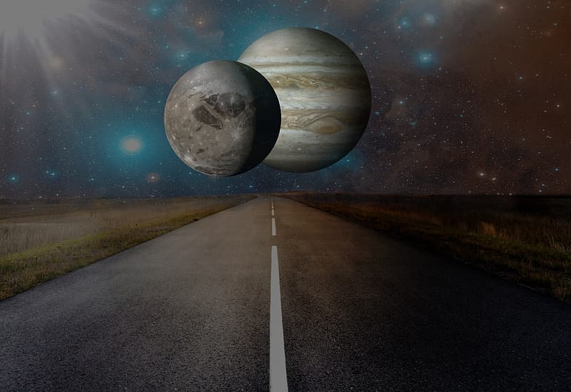 Two planets in the middle of the street photo