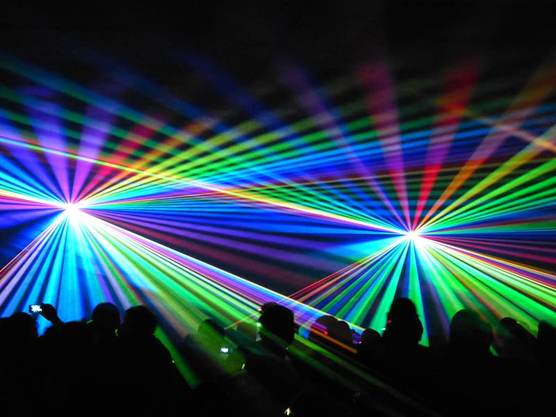 Multicolored strobe lights