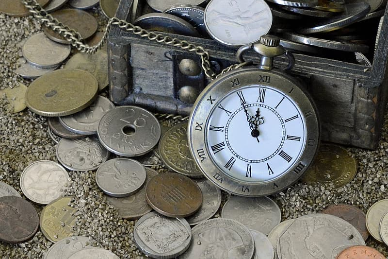 Round silver-colored case pocket watch