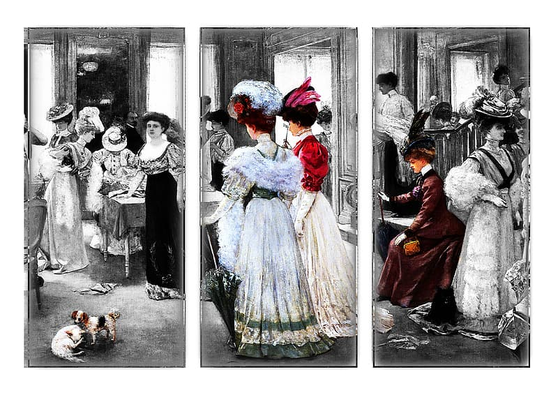 Selective color of sketch woman wearing white and red dresses collage