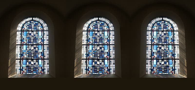 Blue-and-black clear mosaic glass windows