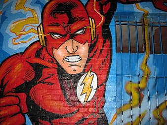 Closeup photo of mural painting of The Flash
