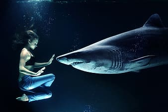 Edited underwater photo of woman wearing blue jeans water with shark