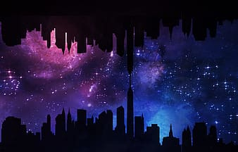 Silhouette of buildings with galaxy background