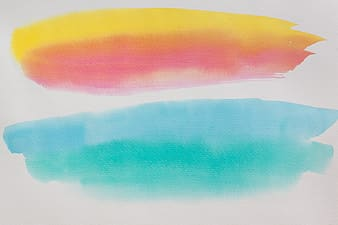 Yellow, pink, and blue painting