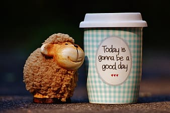 Sheep figurine next to plastic cup