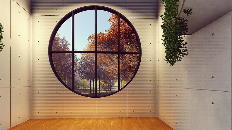 Round black framed clear glass window