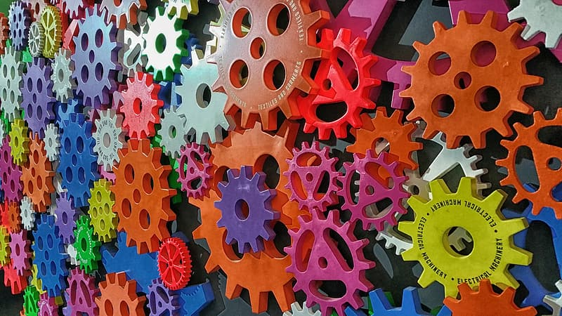Assorted-color sprockets wall decorations