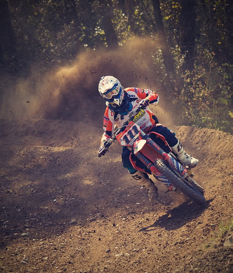 Man riding a motocross dirt bike