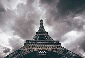 Worms eye view photo of Eiffel tower