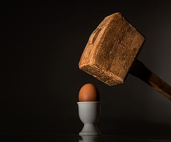 Brown mallet and and egg